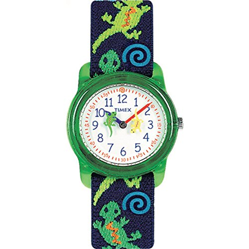 Timex Analog Youth Watch - Kidz Analog | Green Case w Blue Elastic Strap