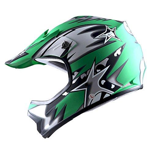 WOW Youth Kids Motocross BMX MX ATV Dirt Bike Helmet Star Matt Green (Kid Motocross Helmet)