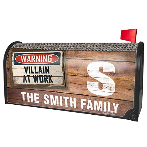NEONBLOND Custom Mailbox Cover Warning Villain at Work Vintage Fun Job Sign -