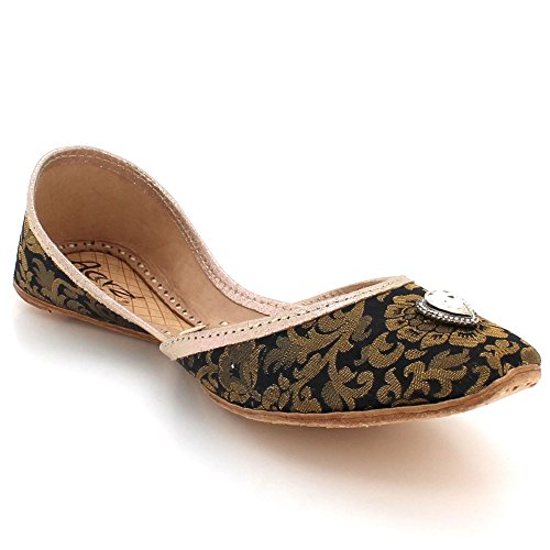 Black Traditional Shoes Pumps Slip Leather Indian On Khussa Size Women Ethnic AARZ Flat LONDON Handmade Ladies Bridal qfaUn16tw