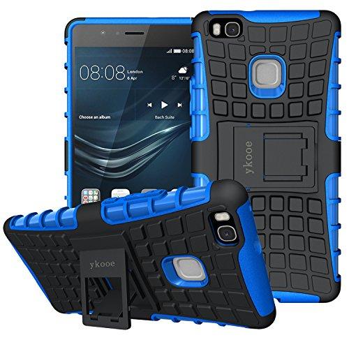 ykooe Huawei P9 Lite Case, (TPU Series) P9 Lite Heavy Duty Protection Hybrid Shockproof Dual Layer Protective Case Cover for Huawei P9 Lite - Blue (Best Huawei P9 Lite Case)