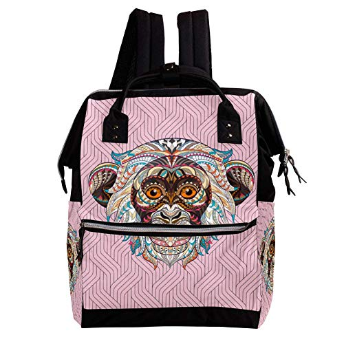 Pin Monkey Diaper Bag Backpack,Multi Pocket Large Capacity for Maternity Baby Nappy Change Mummy Multifunction Travel Rucksack,10.6x7.8x14in