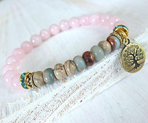 Tree of life Bracelet, Aqua terra jasper, Rose quartz, Hope and courage, rose quartz bracelet, jasper bracelet