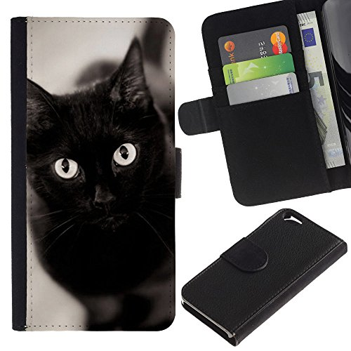 EuroCase - Apple Iphone 6 4.7 - black cat eyes Bombay chartreux - Cuir PU Coverture Shell Armure Coque Coq Cas Etui Housse Case Cover