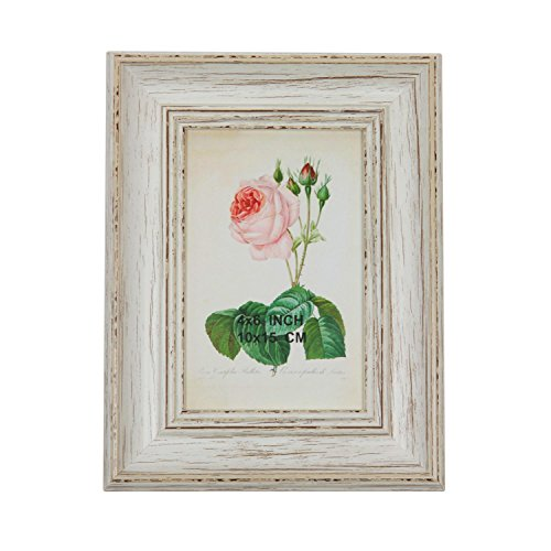"8.75"" Vintage Inspired Distressed White Photo Picture Frame"