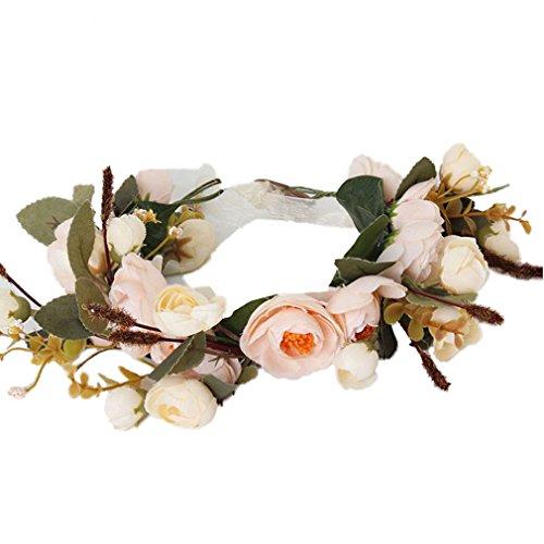 Baby Shower Wreaths (Cereoth Flower Crown Boho Headband Rose Floral Wreath Garland For Wedding Festivals White Orange)
