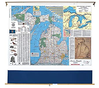Amazon.com: Nystrom Michigan Pull Down Roller Classroom Map ...