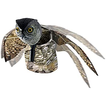 VisualScare Horned Owl Pest Deterrent With Moving Wings U2013 Scare Birds,  Rodents, Pests,