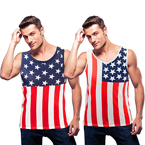 2 Pieces Men's American Flag Tank Top American Independence Patriotic Shirt for July 4th (S)