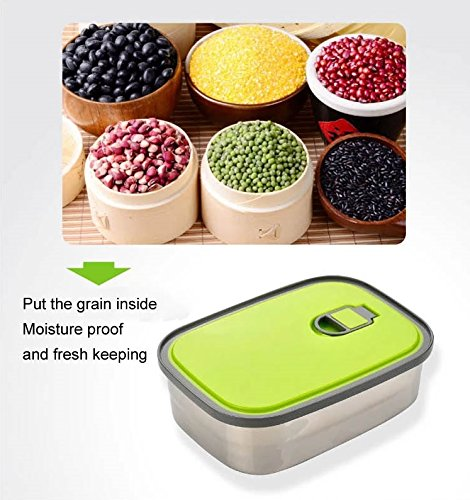 SUMMER SALE! Stainless Steel Bento Lunch Box Set 3 in 1. Leak Proof With Easy to Identify Green Lids. Perfect For The Family.
