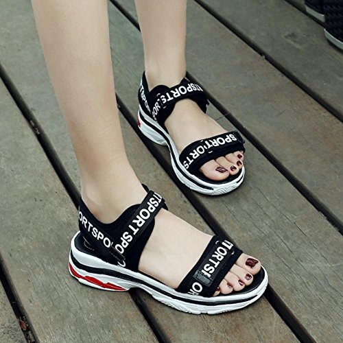 Sports 1 Marcher RAZAMAZA Femmes Sandales Chaussures Scratch Black vnqPA50PB