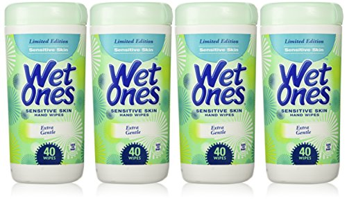 Wet Ones Sensitive Skin Hand Wipes, Extra Gentle 40 Count Canister (Pack of 4)