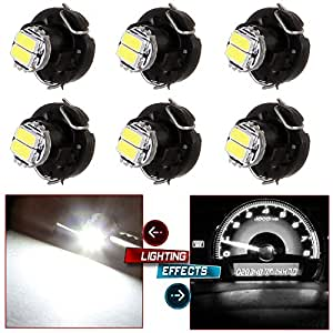 CCIYU 6 x T3 White 2-1206-SMD LED Neo Wedge Instrument A/C Climate Heater Lights Bulbs T3- 8mm Base Diameter / 39397-SA5-003 Fit 2001-2010 Honda Accord Odyssey