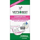 Vet's Best Comfort Fit Dog Diapers | Disposable Female Dog Diapers | Absorbent with Leak Proof Fit | X-Small, 12 Count