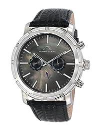 Porsamo Bleu NYC Genuine Leather Silver Tone & Black Men's Watch 051ANYL