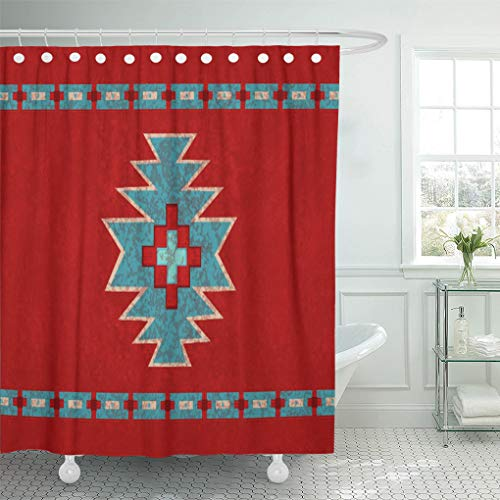 Santa Fe Shower Curtain Hooks - Semtomn Shower Curtain Red Western Southwest Mesas Santa Tribal Native Desert Turquoise 72