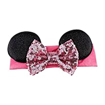 Minnie Mouse Elastic Headwrap Headband With Sequin Bow for Baby And Toddlers (Pink Sequin Bow)
