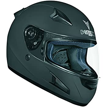 Vega X888 Full Face Helmet (Flat Black, Large)