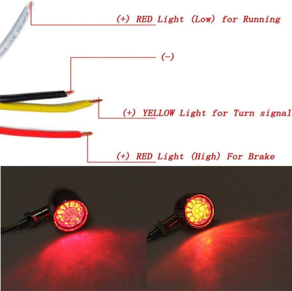Diamond Lens Bullet Motorcycle LED Turn Signals Brake Running Tail Light Replacement for Harley Amber 12V