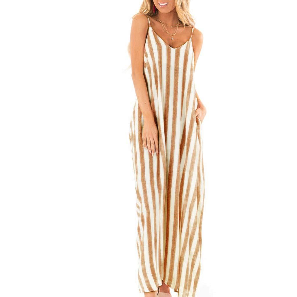 Corsion Womens Summer Striped Sleeveless Gradient Long Boho Dress Beach Maxi Skirt