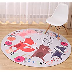LivebyCare Multi-Size Cartoon Animal Round Carpet Area Floor Rug Doormat Entrance Entry Way Front Door Mat Ground Rugs for Kids Boys Girls Children Baby Playroom