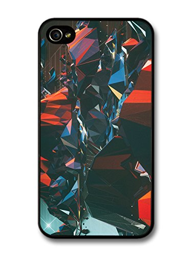 Cool New Abstract 3D Shapes Designs in Red and Black case for iPhone 4 4S