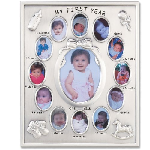 - Lawrence Frames 830080 Silver Plated My First Year Picture Frame