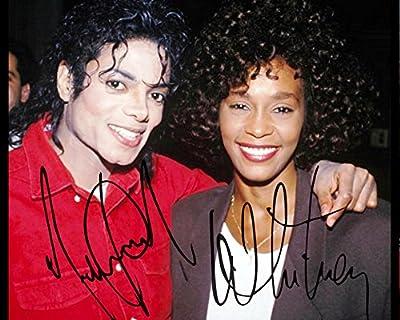 Michael Jackson & Whitney Houston reprint signed photo #1 RP