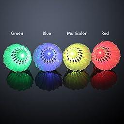 Misula 4PCs Colorful LED Badminton Shuttlecock Dark Night Glow Birdies Lighting for Outdoor & Indoor Sports Activities