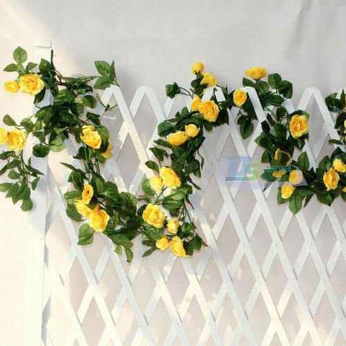 UNAKIM--8Ft Artificial Rose Silk Flowers Vine Garland Ivy Plant Home Wedding Decoration