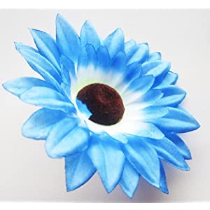 "(12) Silk Blue Sunflowers Daisy Sun Flower Heads , Gerber Daisies - 3.5"" - Artificial Flowers Heads Fabric Floral Supplies Wholesale Lot for Wedding Flowers Accessories Make Bridal Hair Clips Headbands Dress 7"