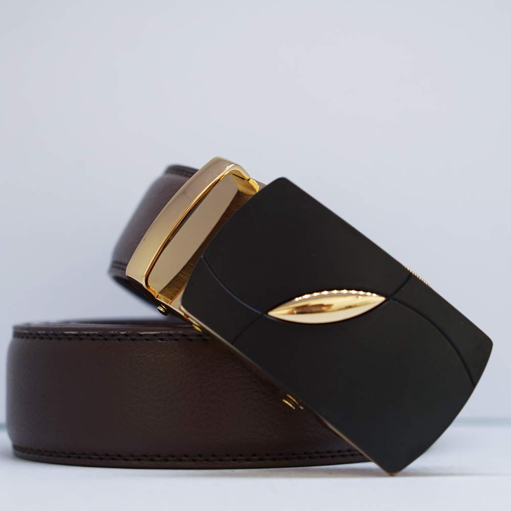 Behnaz Pucci Leather MB18-BR Automatic Buckle Men Belt BROWN