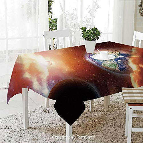 AmaUncle Premium Waterproof Table Cover Dust Cloud Nebula Stars in Solar System Scene with Planet Earth Pluto and Neptune Table Protectors for Family Dinners (W55 xL72) ()