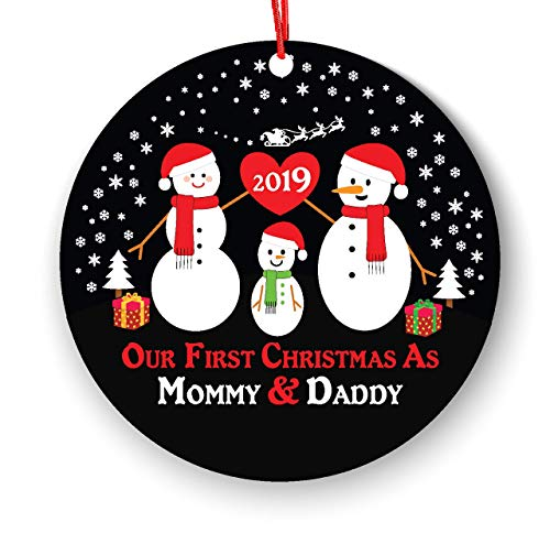 New Snowman Mommy Daddy - Our 1st Christmas as Mommy & Daddy 2019-1st Christmas as Mommy & Daddy 2019 - New Parents Ornament - Snowman Family Ornament - Mommy & Daddy Ornament 2019