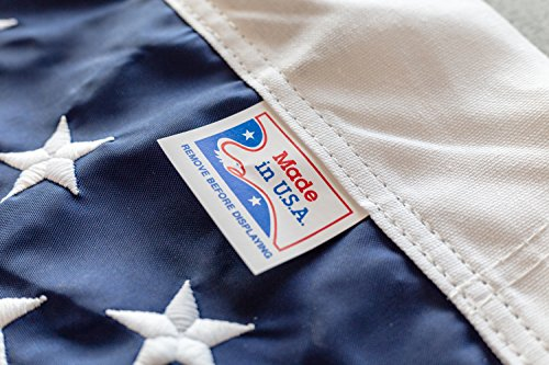 Solarmax Nylon State Flag - American Flag, 100% Made in USA, Nylon US Flags, Embroidered and Sewn, Indoor/Outdoor, Withstands Tough Weather and Wind - uses Brass Grommets (4'x6')