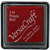 Tsukineko Small Size VersaCraft Fabric and Home Decor Crafting Pigment Inkpad, Poppy Red