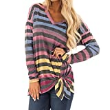 HHei_K Womens Casual Color Block Striped Stitching T-Shirt Loose V Neck Long Sleeve Bandage Lace-Up Hemline Tunic Tops