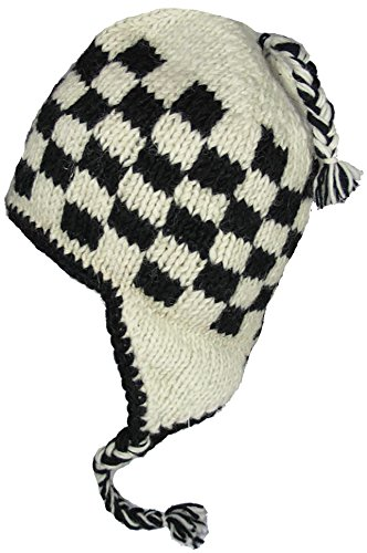 White Toque (WOOL CHULLO FLEECE LINED SKI HAT TOQUE (BLACK AND OFF WHITE))