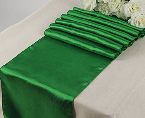 10 Satin 12 x 108 inch Table Runner Banquet Wedding Party & Event -Green