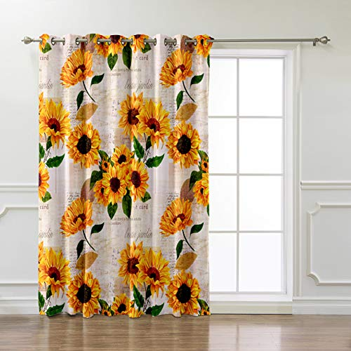 Futuregrace Sunflower With Newspaper Background Curtains For Livingroom Bedroom 52 X63 Inch
