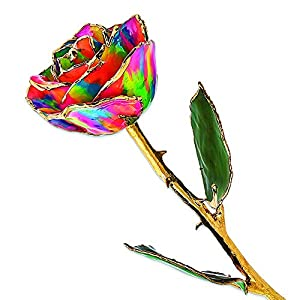 Allmygold Jewelers Long Stem Dipped Paradise Neon Tie Dyed Lacquered Rose in Gift Box 31