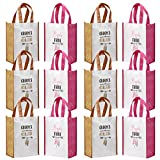 Avery Barn 12 Pc Wedding Favor Bag Set w/6 Bridesmaid & 6 Groomsmen | Reusable Tote for Bachelorette Gifts & Bachelor Party Bags Bridal Shower Thank You | Pink/Orange - Grooms Clan & Bride Tribe