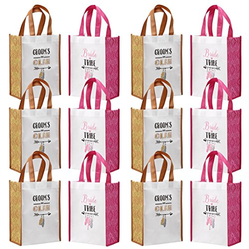 Avery Barn 12 Pc Wedding Favor Bag Set w/ 6 Bridesmaid & 6 Groomsmen | Reusable Tote for Bachelorette Gifts & Bachelor Party Bags Bridal Shower Thank You | Pink/Orange - Grooms Clan & Bride Tribe