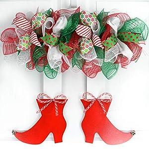 Mesh Elf Wreath | Christmas Holidays Legs Wood Door Wreath; Red White Emerald Green 41