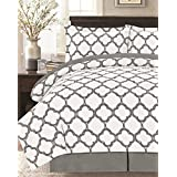 Supper Soft 8 Piece Comforter Set,Gray/White King
