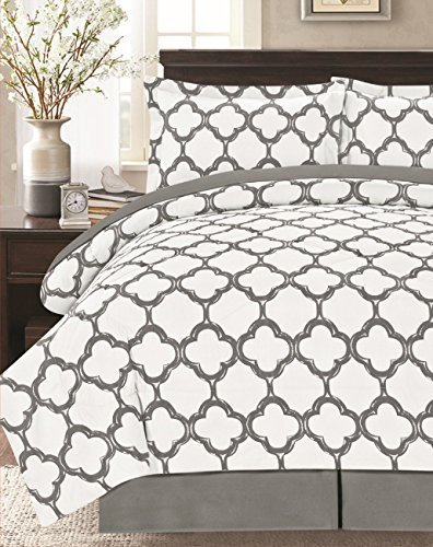 Livingston Home Supper Soft 8 Piece Bed in a Bag Fretwork Comforter Set,Gray/White Queen, (Gray Comforter White Queen Set And)