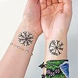 Viking - Aegishjalmur - Vegvisir - Temporary Tattoo (Set of 2)