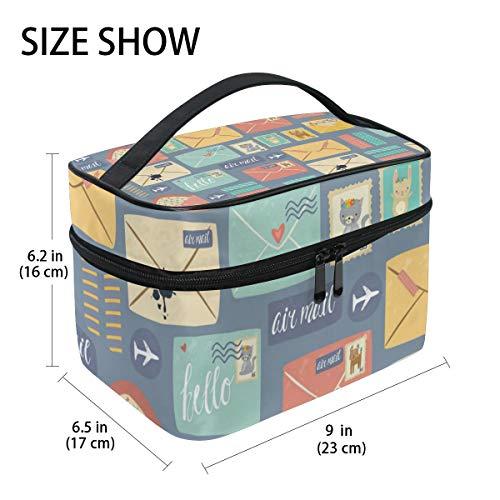Postal Stationery Pattern Hanging Toiletry Bag Travel Organizer Cosmetic Makeup Bag Case for Women Men