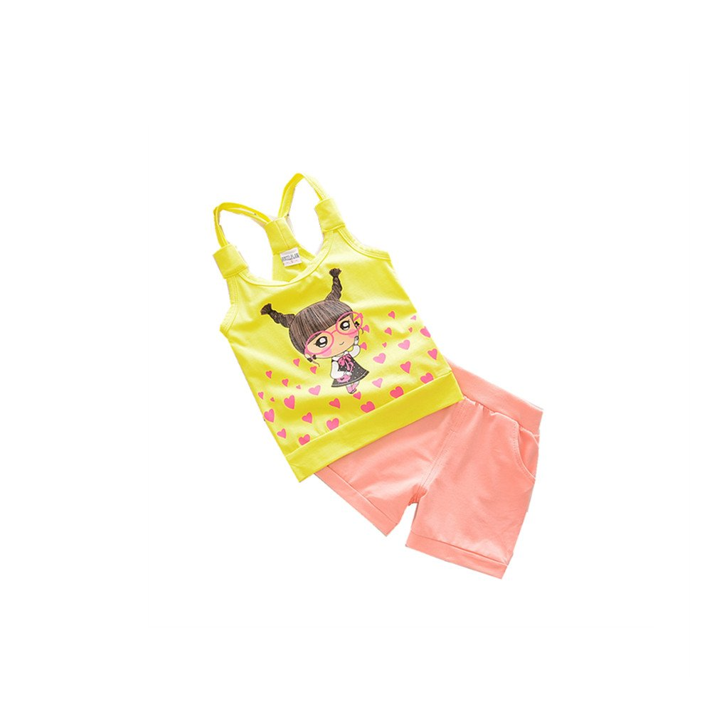 FTSUCQ Little Girls Cartoon Glasses Heart Vest with Shorts, Two-Pieces Sets,Yellow 110