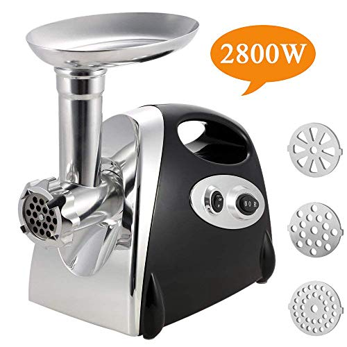 Electric Meat Grinder Stainless Steel and Duty Household Sausage Stuffer Food Processor Grinding Mincing Machine with Kubbe Attachement-Ksun 2800W Heavy Duty Mincer(Black) ETL Approved